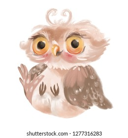 Cute hand drawn baby owl, bird