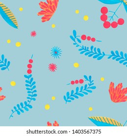 Cute hand drawn floral colorful seamless pattern on light blue background. Simple scandinavian style with folklore design. Delicate herbal pattern for scrapbooking, wrapping paper, textile, fabric.