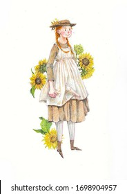 Cute hand drawn illustration with ann of green gables. summer illustration with a girl.