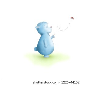 cute hand drawn illustration of  blue fantasy animal standing, looking at flying ladybug, on white background