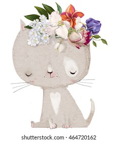 cute hand drawn kitten with floral wreath