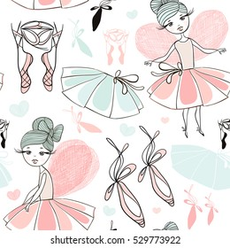 Cute hand drawn pattern with fairy. Fairy ballerina background