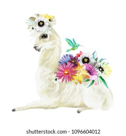 Cute hand painted mexican llama, alpaca with flowers wreath, floral bouquet and hummingbird