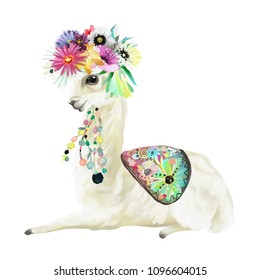 Cute hand painted mexican llama, alpaca with ethnic blanket, flowers wreath, floral bouquet and boho feathers decoration