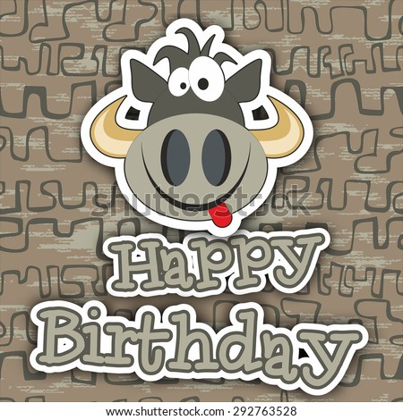 Cute Happy Birthday Card Funny Cow Stock Illustration 292763528