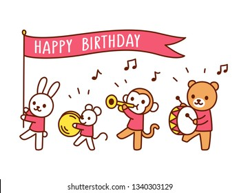 Cute Happy Birthday greeting card with funny cartoon animals playing music. Kawaii marching band parade drawing, children illustration. Banner flag with copy space for text.