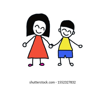 Cute happy boy and girl cartoon sketch kids on white background