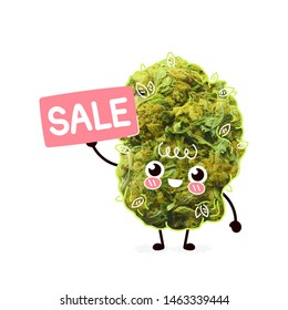 Cute happy cannabis weed bud with sale sign.  Cartoon character illustration design with hand drawing graphic elements. Isolated on white background. Marijuana,cannabis sale concept