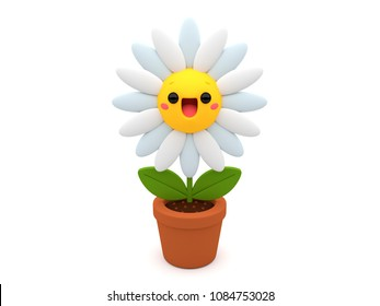 Cute and happy Daisy flower 3D cartoon character, smiling inside a flowerpot, on an isolated white background.