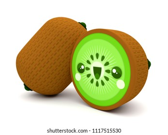 Cute and happy green and brown kiwi fruit kawaii 3D cartoon character on a white background