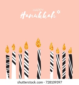 Cute Happy Hanukkah Greeting card with gold glitter elements. Jewish holiday with candles on pink background. design illustration