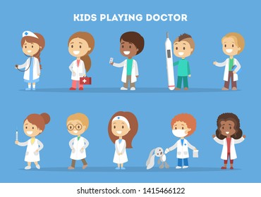 Cute happy little kid in doctor uniform set. Children play as medicine workers with different equipment. Toy as a patient. Flat  illustration