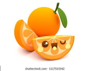 Cute and happy orange fruit kawaii 3D cartoon character with slices on a white background