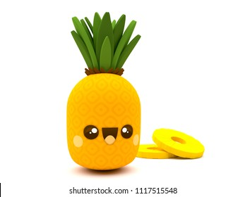 Cute and happy pineapple fruit kawaii 3D cartoon character with slices on a white background