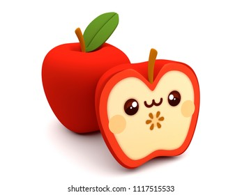 Cute and happy red apple kawaii 3D cartoon character on a white background