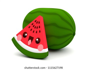 Cute and happy red and green watermelon fruit kawaii 3D cartoon character on a white background