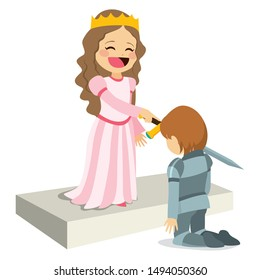 Cute happy smiling queen on knighting ceremony honoring knight