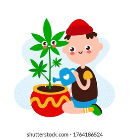 Cute happy smiling young man water marijuana plant.hand drawing flat style illustration icon design. Isolated on white background.Weed,cannabis,marijuana growing at home concept