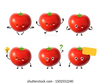 Cute happy tomato vegetable bundle set. Cartoon character illustration design with hand drawing graphic elements. Isolated on white background. Red fresh tomato collection concept
