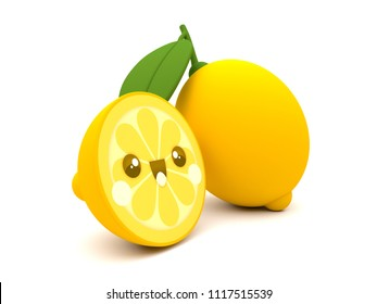 Cute and happy yellow lemon fruit kawaii 3D cartoon character siliced on a white background