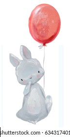 cute hare with balloon