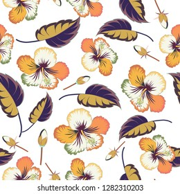 Cute hibiscus flowers pattern,. Watercolor seamless pattern on striped background. Floral print in white and yellow colors.