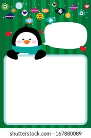 Cute Holiday Penguin Photo Frame or Sign