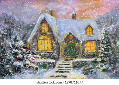 Cute house in the winter forest. Original acrylic hand painting illustration