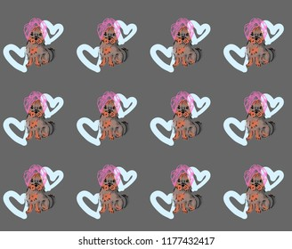 A cute illustration of a dog, a Yorkshire terrier puppy. Dog wrapped in a towel. A dog with a pink towel on his head. Dog on the background of blue hearts. Backraund, the texture of dogs