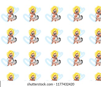 A cute illustration of a dog, a Yorkshire terrier puppy. Dog wrapped in a towel. A dog with a yellow towel on his head. Dog on the background of blue hearts. Backraund, the texture of dogs