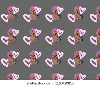 A cute illustration of a dog, a Yorkshire terrier puppy. Dog wrapped in a towel. A dog with a pink towel on his head. Dog on the background of pink hearts. Backraund, the texture of dogs