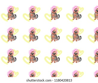 A cute illustration of a dog, a Yorkshire terrier puppy. Dog wrapped in a towel. A dog with a pink towel on his head. Dog on the background of yellow hearts. Backraund, the texture of dogs