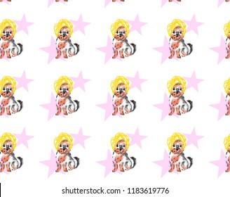 A cute illustration of a dog, a Yorkshire terrier puppy. Dog wrapped in a towel. A dog with a yellow towel on his head. Dog on the background of pink stars. Backraund, the texture of dogs