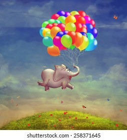 Cute  illustration of a flying elephant with balloons in the sky