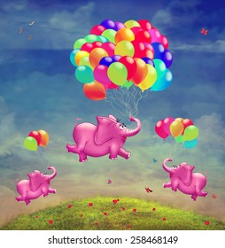 Cute  illustration of  flying elephants with balloons in the sky