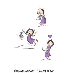 CUTE ILLUSTRATION OF A GIRL WANTING A PET CAT