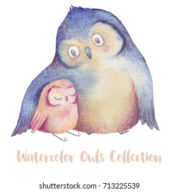 Cute illustration with parent owl and little owlet. Watercolor hand drawn painting