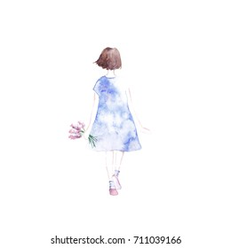 Cute illustration of romantic girl in blue dress and bouquet in hands. Silhouette of young girl in watercolor style on a white background.