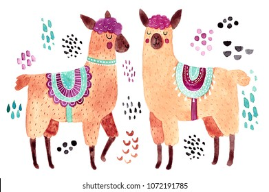 Cute illustration. Watercolor animal drawing. Llamas or alpacas clip-art.