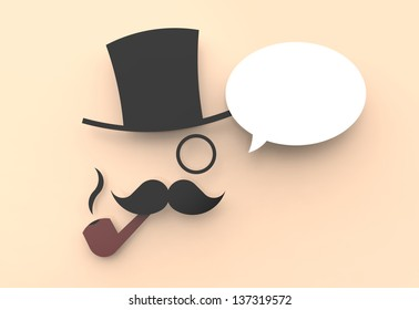 A cute illustration of a wise man with a top hat and a pipe, saying something in a speech balloon.