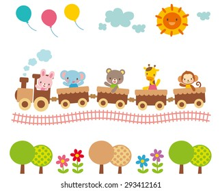 """Cute illustrations for children """"balloons and sun and animal train"""""""