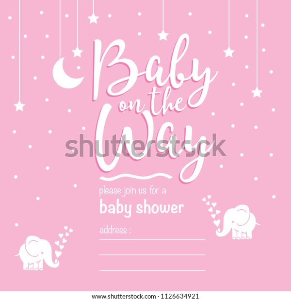 Cute Invitation Cards Baby Shower Invite Stock Illustration