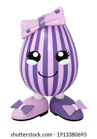 cute kawaii easter egg with big shoes. In purple and pink stripes with a bow. 3d rendering