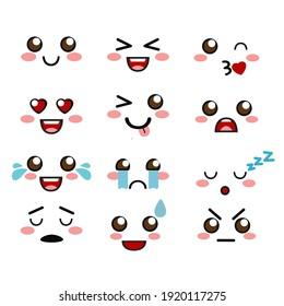 Cute kawaii face icon design