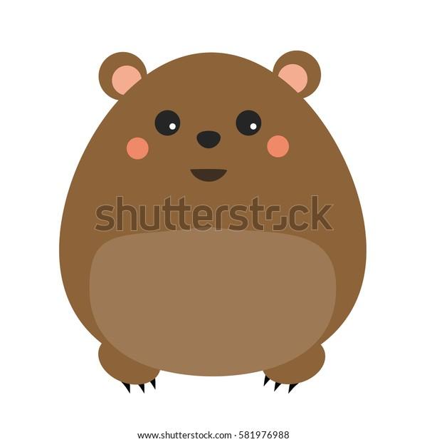 Cute kawaii forest bear character. Children style, illustration. Sticker, design element for kids books
