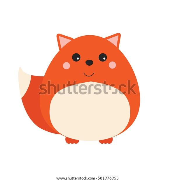 Cute kawaii forest fox character. Children style, illustration. Sticker, design element for kids books