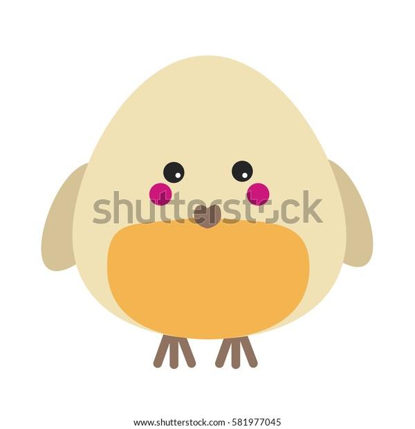 Cute kawaii robin character. Children style, illustration. Sticker, design element for kids books