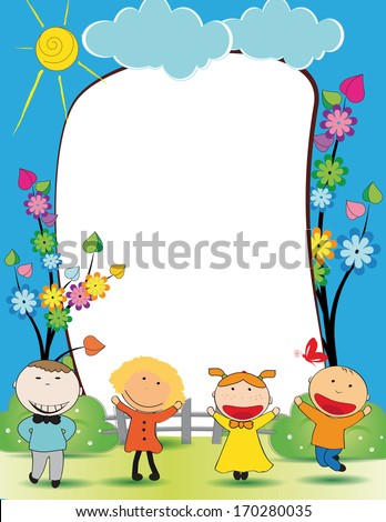 Cute Kids Frame Happy Boys Girls Stock Illustration 170280035 ...