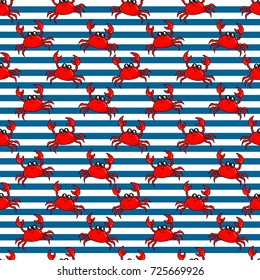 Cute kids pattern for girls and boys. Colorful crab on the abstract background create a fun cartoon drawing. The background is made in pastel colors. Urban backdrop for textile and fabric.