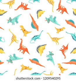 Cute kids watercolor pattern with dinosaurs, funny animals. Brachiosaurus, tyrannosaurus, Stegosaurus, Brontosaurus, Triceratops